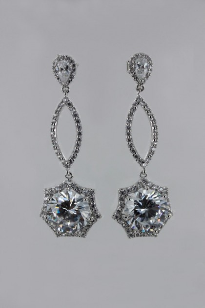 Octagon Wedding CZ Earring