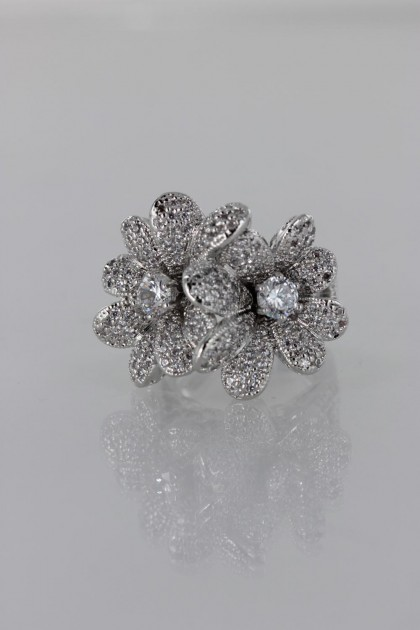 Double Flower CZ Ring