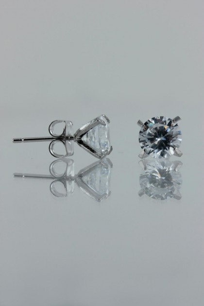 7MM AAA Quality one point up CZ Earring