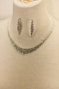 Round rhinestone necklace set