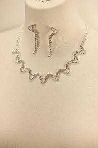 Zigzag rhinestone necklace set