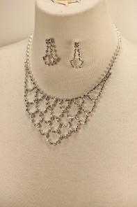 Net rhinestone necklace set