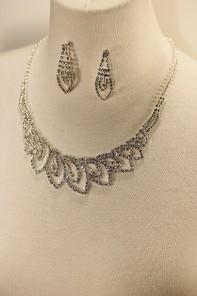 Leaf rhinestone necklace set