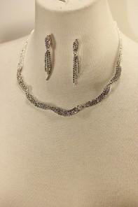 Twist rhinestone necklace set