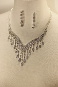Square drop rhinestone necklace set