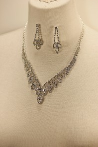 Leaf rhinestone necklace set