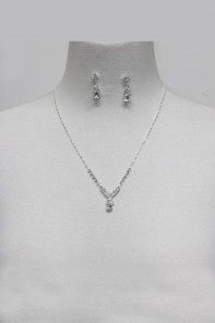 Simple rhinestone wedding necklace set