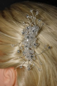 Hand crystal bridal side hair comb