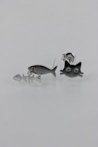 FIsh and Cat Stud Earring