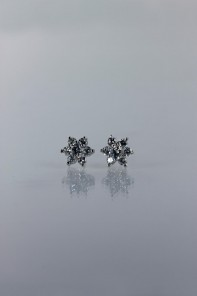 6 leave flower cubic zirconia earring