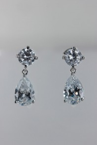 Grande pear dangling CZ earring