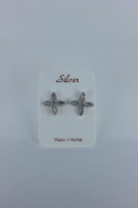 Lux motif CZ earring with silver post