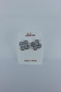 Lux motif cubic zirconia earring with silver post