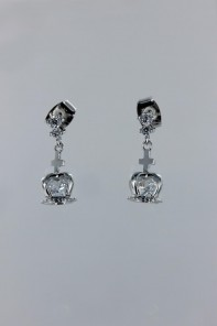 Dangling cross CZ earring