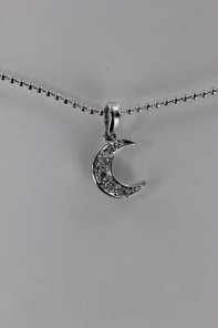 Crescent moon CZ Pendant Necklace