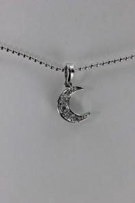 Crescent moon CZ Pendant Necklace