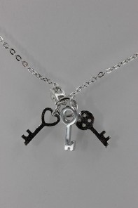 3 Lucky Key CZ Pendant Necklace