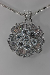AAA Lux Flower CZ Pendant Necklace