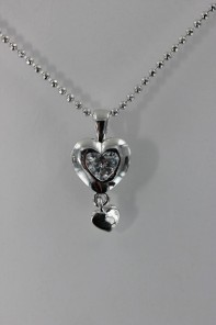 Heart dangle CZ Pendant Necklace
