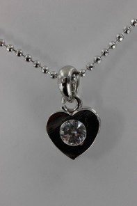 Simple heart CZ Pendant Necklace