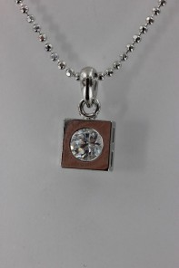 Simple square CZ Pendant Necklace