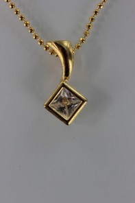 Princess cut CZ Pendant Necklace