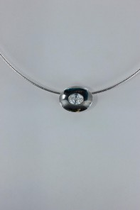 Oval Y CZ Pendant Necklace