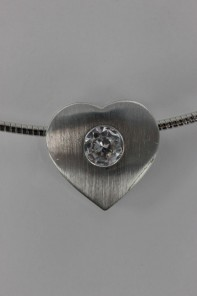 Heart Y CZ Pendant Necklace