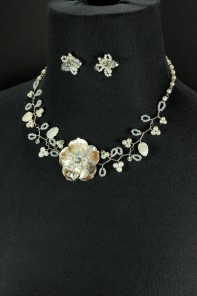 Mother of pearl necklace jewelry set
