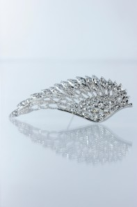 Feather wing wedding brooch